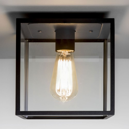 Box Ceiling Light in Textured Black with Clear Glass Diffuser using 1 x E27 max. 60W IP23, Astro 1354001