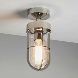 Cabin Semi Flush Ceiling Light in Polished Nickel with Clear Glass 1 x E27 12W (max) LED, Astro 1368001