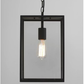 Homefield Pendant 360 in Black with Transparent Glass IP23 12W E27/ES LED lamp for Exterior Lighting, Astro 1095015