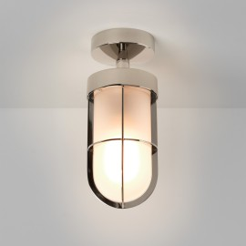 Cabin Semi Flush Ceiling Light in Polished Nickel with Frosted Glass 1 x E27 12W (max) LED, Astro 1368010