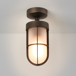 Cabin Semi Flush Ceiling Light in Bronze with Frosted Glass 1 x E27 12W (max) LED, Astro 1368011