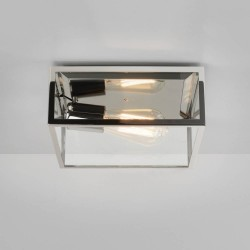 Bronte Rectangular Outdoor Ceiling Flush Light in Polished Nickel with Clear Glass 12W E27/ES LED IP23, Astro 1353002