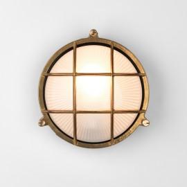 Thurso Round Natural Brass Wall / Ceiling Light using E27/ES 42W, Coastal Light IP44 Astro 1376001