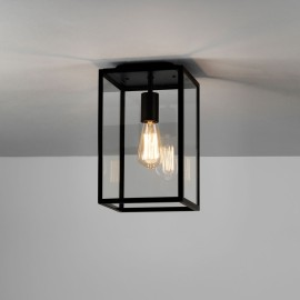 Homefield Ceiling Light in Textured Black with Clear Glass Diffuser IP23 E27 for Exterior Lighting, Astro 1095021