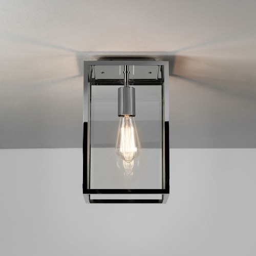 Homefield Ceiling Light in Polished Nickel with Clear Glass Diffuser IP23 E27 for Exterior Lighting, Astro 1095022
