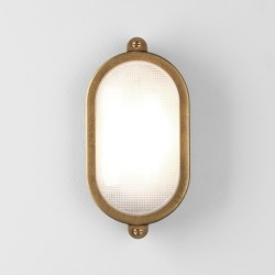 Malibu Coastal Oval Wall/Ceiling Light in Antique Brass IP65 rated ES/E27, Astro 1387002