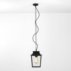 Richmond 200 Pendant Light in Textured Black with Clear Glass Diffuser IP23 E27/ES Dimmable