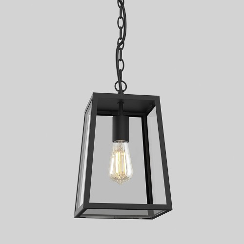 Calvi Pendant 305 in Textured Black with Clear Glass for Outdoor Ceiling Lighting IP23 12W LED E27 Astro 1306013