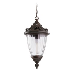 Galatea Hanging Lantern in Oxide Brown with Decorated Clear Glass for Exterior Ceiling Lighting