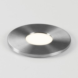 Terra Round 28 LED Light in Brushed Stainless Steel IP65 1W 40lm 3000K Dimmable LED, Astro 1201003