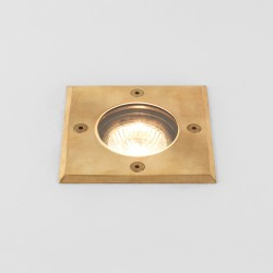 Gramos Coastal Square Ground Light in Natural Brass IP65 rated using 1 x 6W GU10 LED, Astro 1312004