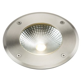 IP65 9W Round LED Ground Light in Stainless Steel 3500K 610lm with 2m Outdoor Flex