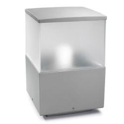 Cubik Outdoor Lantern 15cm in Satin Grey, IP55 Square Bollard Small Pedestal Light