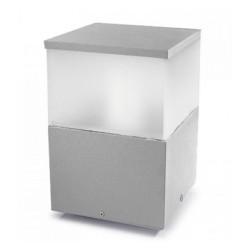 Cubik Outdoor Lantern 20cm in Satin Grey, IP55 Square Bollard Small Pedestal Light