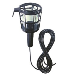 Black Inspection Light (max. 60W BC lamp) with Glass and Cage, with 5m Flexible Lead 240V and Hook