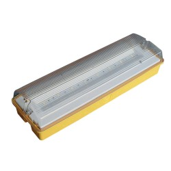 IP65 110V 3.1W LED Emergency Bulkhead 3h Maintained 243lm (103lm in emergency) in Yellow for Site Lighting