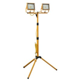 110V Twin Head LED Floodlight 20W 1800lm on Adjustable Tripod with 3m Cable and 16A Plug
