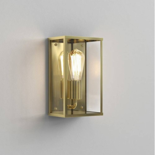 Homefield Exterior Wall Light in Natural Brass ES/E27 LED with Clear Glass Diffuser IP44 Astro 1095034