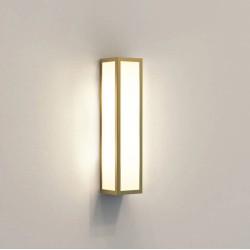 Salerno Natural Brass Outdoor Wall Light with Acid Etched Glass Diffuser IP44 2 x 5W max. Candle LED E14/SES, Astro 1178006