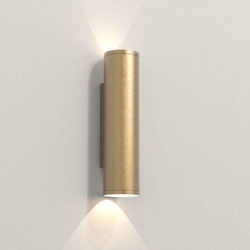 Ava 300 Coastal Wall Light in Coastal Brass using 2 x 6W max. LEDs GU10 IP44 for Up-Down Outdoor Wall Lighting, Astro 1428003