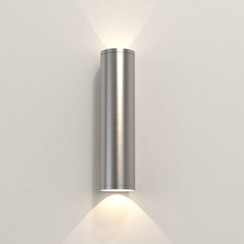 Ava 300 Coastal Wall Light in Brushed Stainless Steel using 2 x 6W max. LEDs GU10 IP44 for Up-Down Outdoor Wall Lighting, Astro 1428004