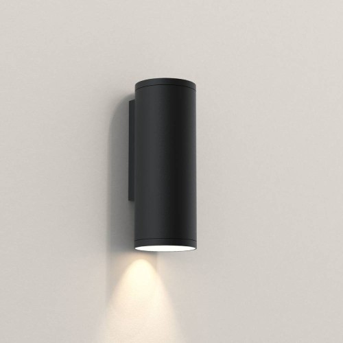 Ava 200 Wall Light in Textured Black using 1x 6W max. LEDs GU10 IP44 for Outdoor Wall Downlighting, Astro 1428005