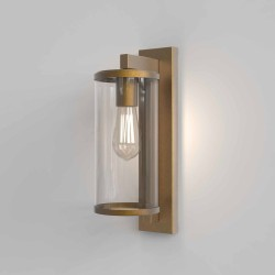 Pimlico 400 Antique Brass Wall Light with Clear Glass Diffuser IP23 for Outdoor Lighting E27/ES, Astro 1413003