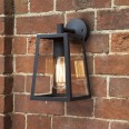 Calvi 215 Wall Lantern in Textured Black with Clear Glass Diffuser for Outdoor Lighting IP23 E27 Astro 1306001