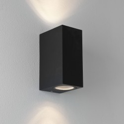 Chios 150 Textured Black LED Outdoor Wall Lamp IP44 for up-down Lighting 2x6W GU10, Astro 1310004
