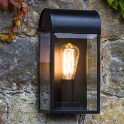 Newbury Textured Black Outdoor Wall Light with Clear Diffuser IP44 rated E27/ES max. 60W, Astro 1339001