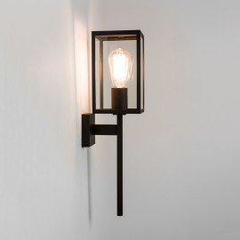 Coach 130 Textured Black Wall Light IP44 with Clear Glass E27 max. 60W, Traditional Style Astro 1369001