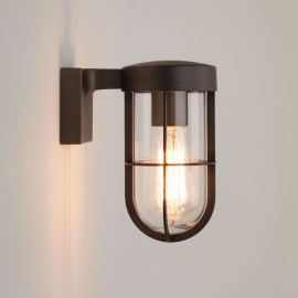Cabin Exterior Wall Light in Bronze with Clear Glass Diffuser IP44 using 1 x E27/ES 12W LED Lamp, Astro 1368025