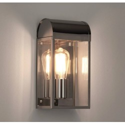 Newbury Polished Nickel Outdoor Wall Light with Clear Diffuser IP44 using 1 x 12W Max LED E27/ES, Astro 1339002