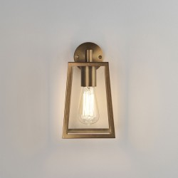 Calvi 215 Wall Lantern in Antique Brass with Clear Glass Diffuser for Outdoor Lighting IP23 E27 Astro 1306005