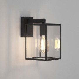 Box Lantern 270 Wall Light in Textured Black with Clear Glass Diffuser IP23 E27, Astro 1354003