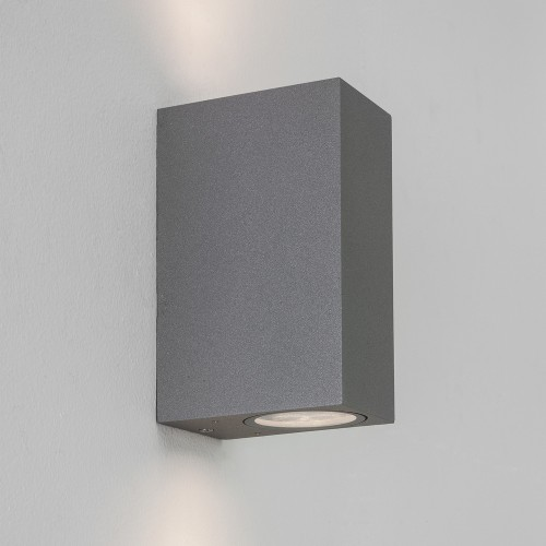 Chios 150 Textured Grey Outdoor Wall Lamp IP44 for Up-Down Lighting using 2 x 6W GU10 LED, Astro 1310008