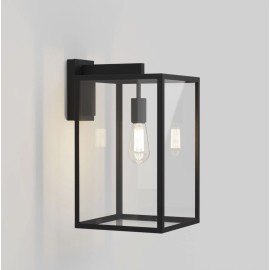 Box Lantern 450 Wall Light in Textured Black with Clear Glass Diffuser IP23 E27, Astro 1354007