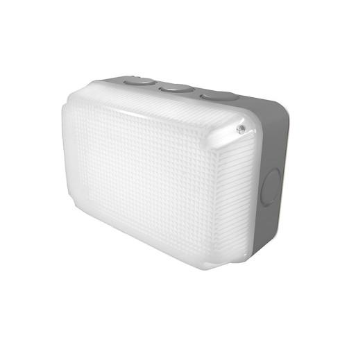 IP65 Grey Rectangular LED Bulkhead 7W 4000K 230V/110V for Indoor/Outdoor Lighting Luceco LBS2G8