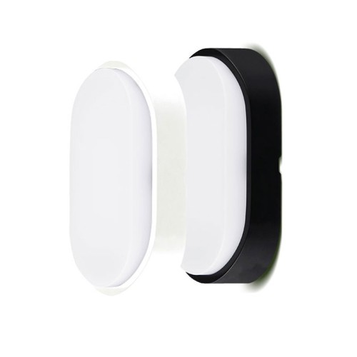IP54 Oval LED Bulkhead 10W 4000K White/Black Bezels for Wall/Ceiling Outdoor Lighting Luceco EBEO10S40