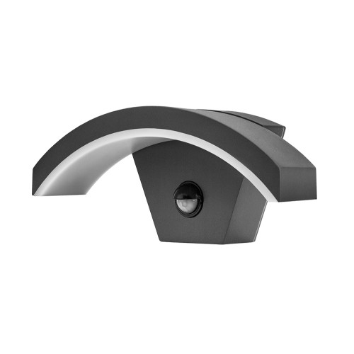 IP54 Outdoor Black Curve LED Wall Light 7.6W 3000K 360lm with Integrated PIR Sensor