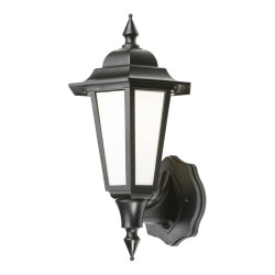 IP54 8W 4000K LED Black Wall Lantern with Opal Diffuser for Outdoor Wall Lighting, Knightsbridge LANT1