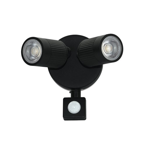IP44 Black Twin Wall LED Spotlight 10W 4000K 720lm with PIR Decorative Adjustable Spots Luceco LEXWT7B40P