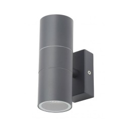 IP44 Up and Down Wall Light in Grey Anthracite using 2 x GU10 Lamps for Outdoor Lighting