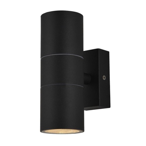 IP44 Up and Down Wall Light in Black Metal 2 x GU10 LED Lamps for Outdoor Lighting
