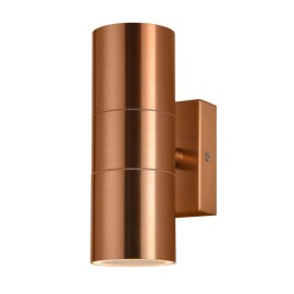 IP44 Up and Down Wall Light in Vintage Copper 2 x GU10 LED Lamps for Outdoor Lighting