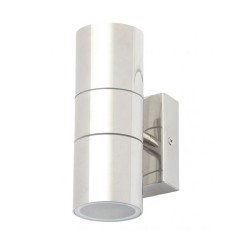 IP44 Up and Down Wall Light in Polished Stainless Steel 2 x GU10 Lamps for Outdoor Lighting
