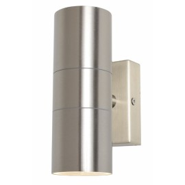 IP44 Up and Down Wall Light in Stainless Steel 2 x GU10 LED Lamps for Outdoor Lighting