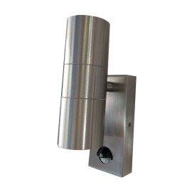 IP44 Up and Down Wall Light in Stainless Steel with PIR, 2 x GU10 LED Lamps for Outdoor Lighting