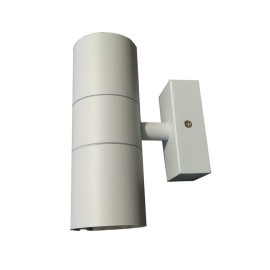 IP44 Up and Down Wall Light in White using 2 x GU10 LED Lamps for Outdoor Lighting