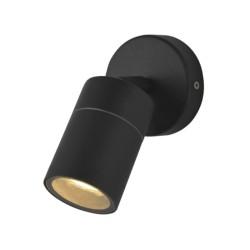 IP44 Adjustable Single Wall Spotlight in Black for Exterior Lighting GU10 LED Lamp